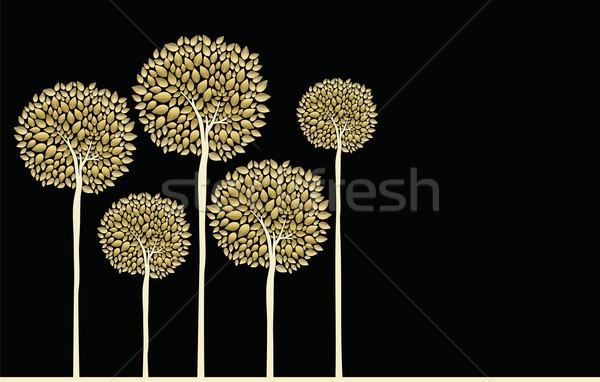 Golden fall trees forest concept illustration Stock photo © cienpies