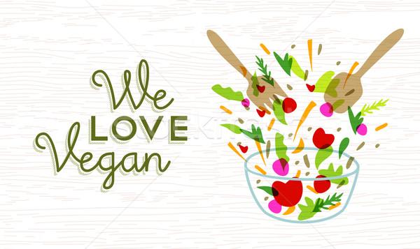 We love vegan food design with vegetable salad Stock photo © cienpies