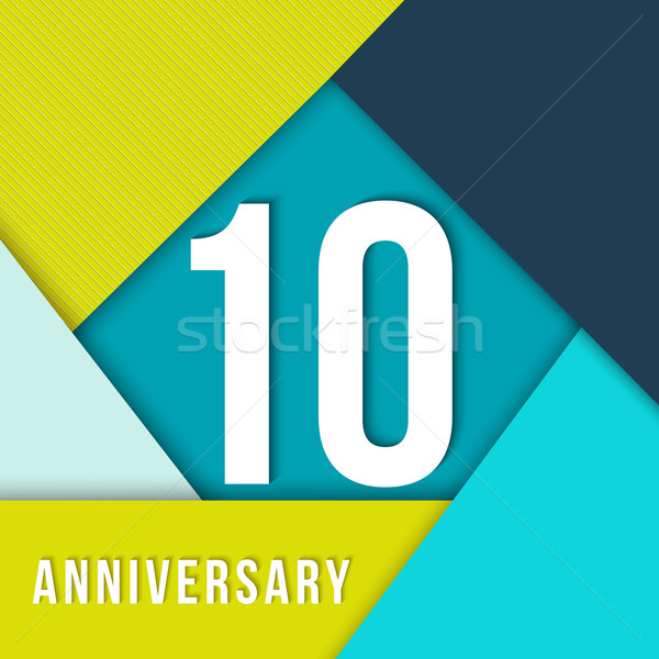 10 year anniversary material design template vector