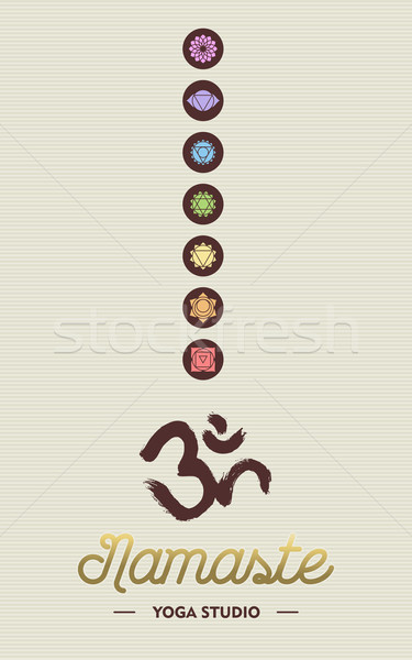 Stockfoto: Yoga · studio · business · chakra · iconen · namaste