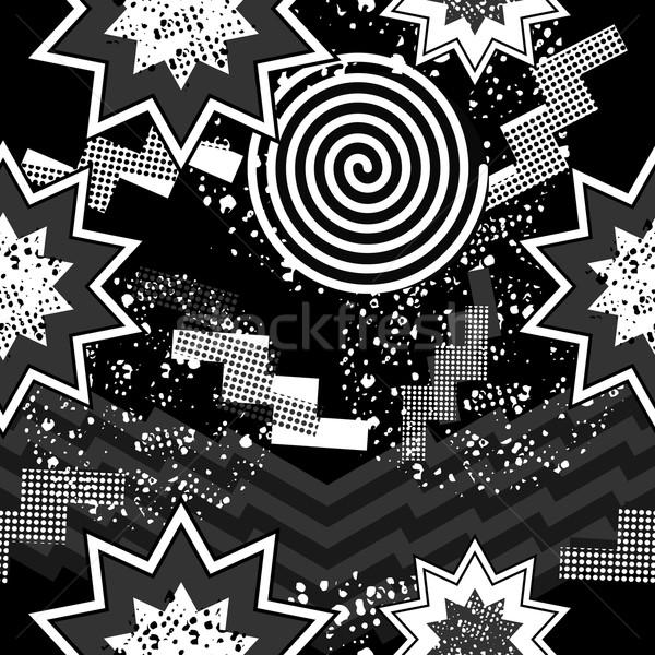 80-as évek pop art végtelen minta feketefehér retro absztrakt Stock fotó © cienpies