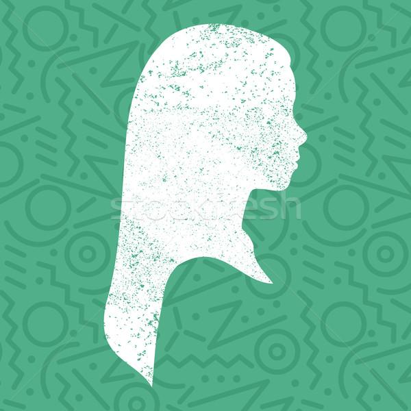 ストックフォト: 女の子 · プロファイル · シルエット · 子供 · 芸術 · 顔