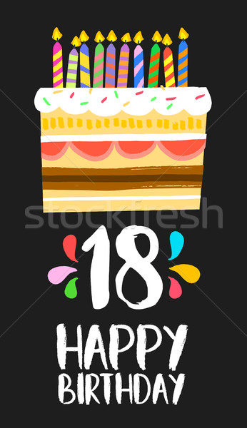 Happy Birthday cake card 18 eighteen year party Stock photo © cienpies