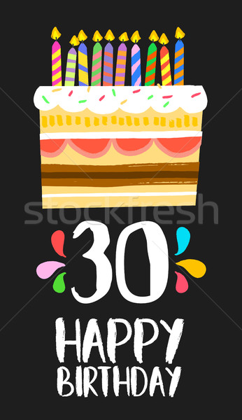 Happy Birthday card 30 thirty year cake Stock photo © cienpies