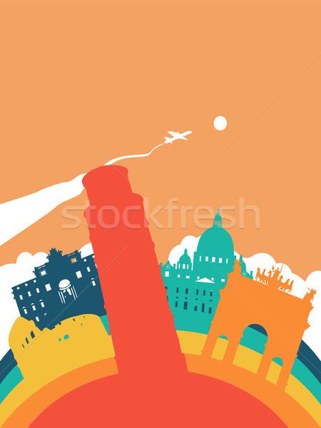 Podróży świat punkt orientacyjny krajobraz ilustracja włoski Zdjęcia stock © cienpies