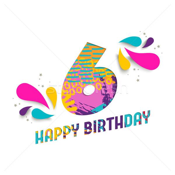 Happy birthday 6 year paper cut greeting card Stock photo © cienpies