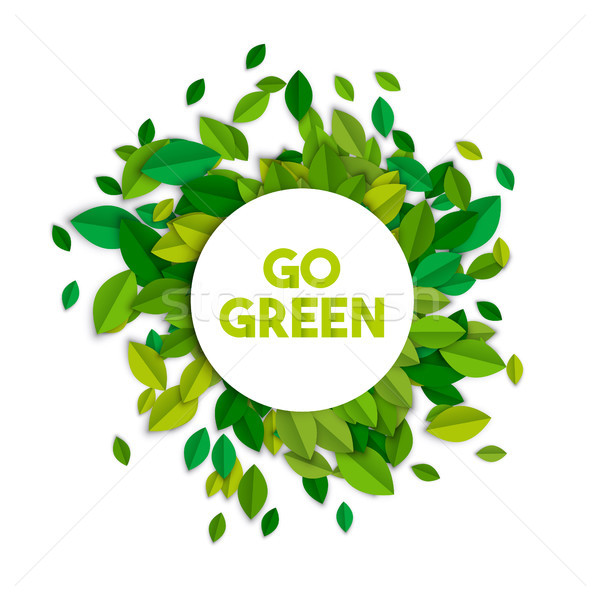 Go green ecology sign concept with tree leaves Stock photo © cienpies