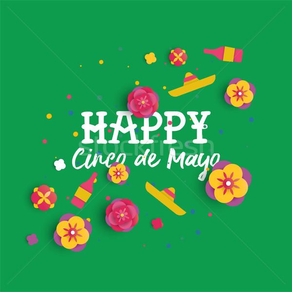 Happy Cinco de Mayo paper art mexican flower card Stock photo © cienpies