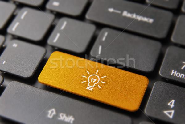 Intelligent business ideeën knop laptop Stockfoto © cienpies