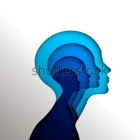 Human head concept cutout for psychology Stock photo © cienpies