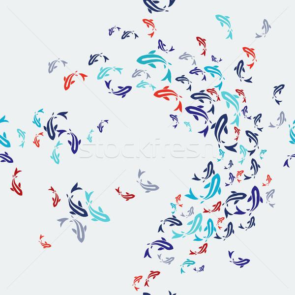 Asian koi poissons étang art Photo stock © cienpies