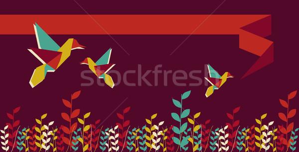 折り紙 ハチドリ グループ バナー デザイン 活気のある ストックフォト © cienpies