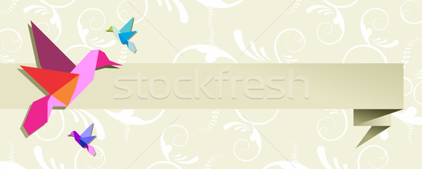 Origami hummingbird group banner floral design Stock photo © cienpies