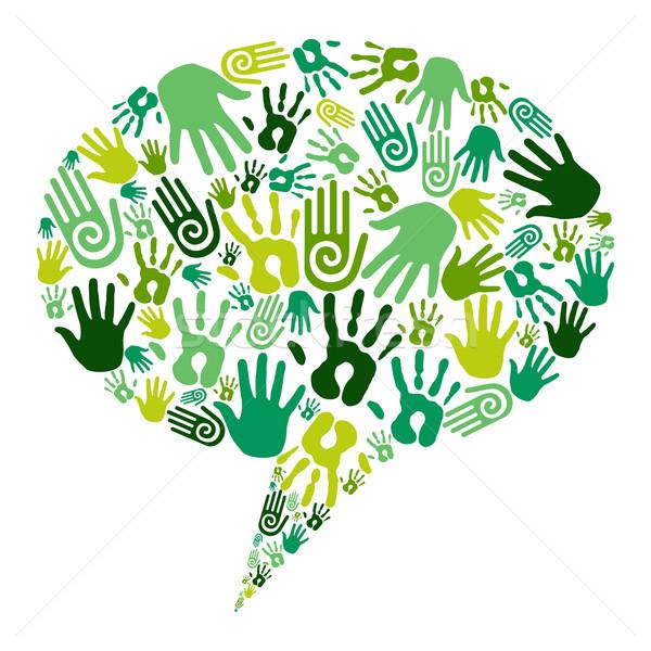 Stock fotó: Zöld · kezek · kommunikáció · emberi · ikonok · közösségi · média