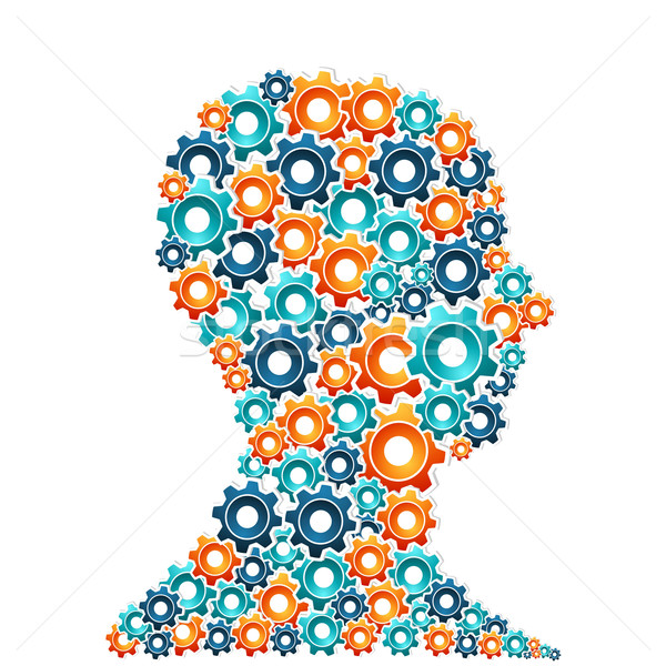 創造的思考 男 人間 頭 作業 歯車 ストックフォト © cienpies