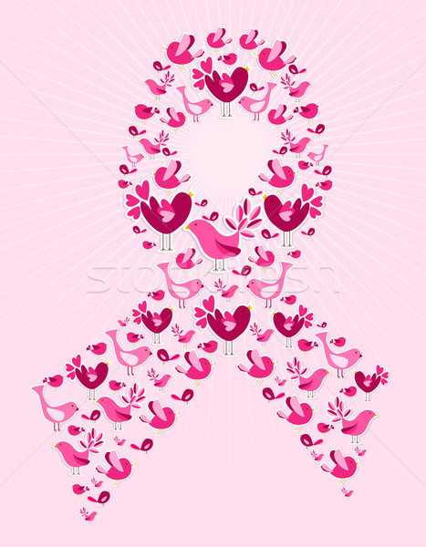 Birds in breast cancer awareness ribbon Stock photo © cienpies