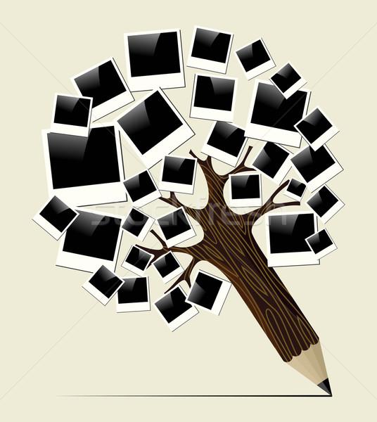 Retro instant photo concept pencil tree Stock photo © cienpies