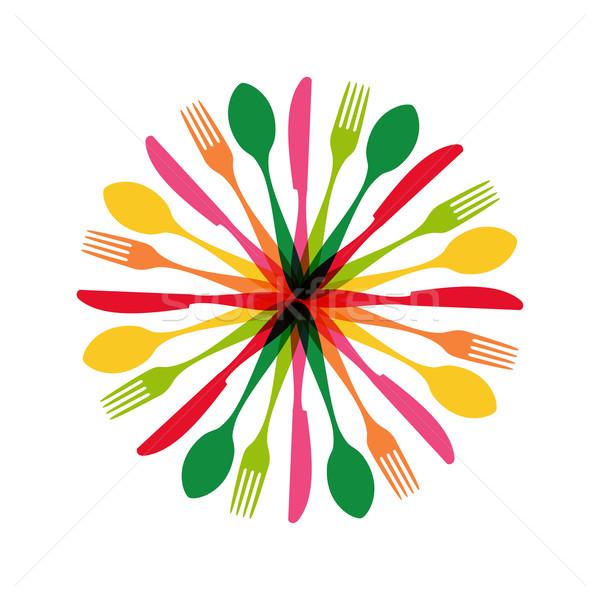 Stock fotó: Evőeszköz · kör · forma · illusztráció · színes · minta