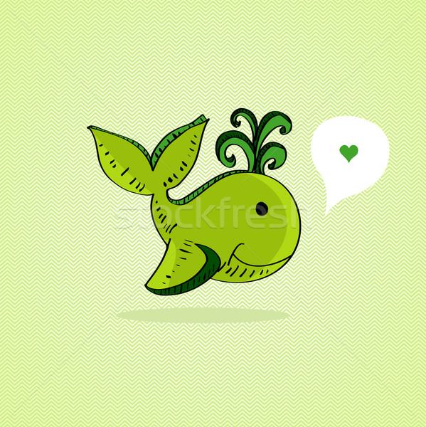 Esboço estilo verde baleia amor Foto stock © cienpies