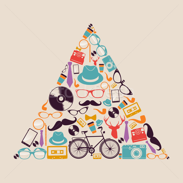 Retro hipsters icons triangle. Stock photo © cienpies