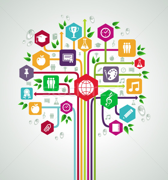 Back to school flat icons education network tree. Stock photo © cienpies