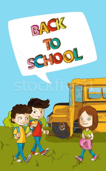Stock fotó: Vissza · az · iskolába · oktatás · gyerekek · társasági · buborék · rajz