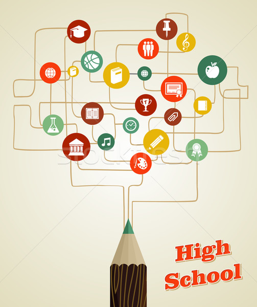 Back to school education pencil social network icons. Stock photo © cienpies