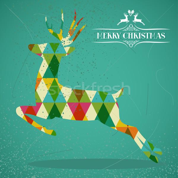 Merry Christmas colorful reindeer shape illustration. Stock photo © cienpies