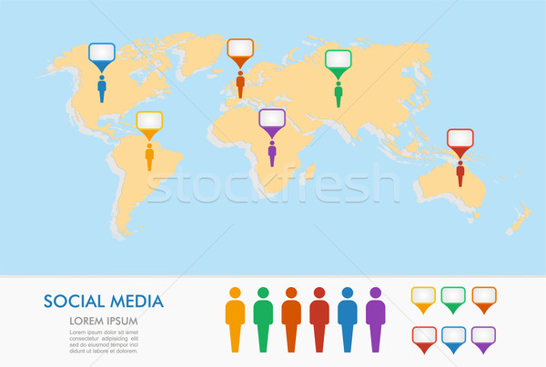 World map, men figures and geo position pointers infographics. Stock photo © cienpies