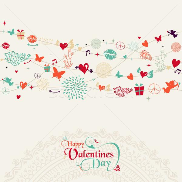 Stock photo: Vintage Valentine`s day postcard design