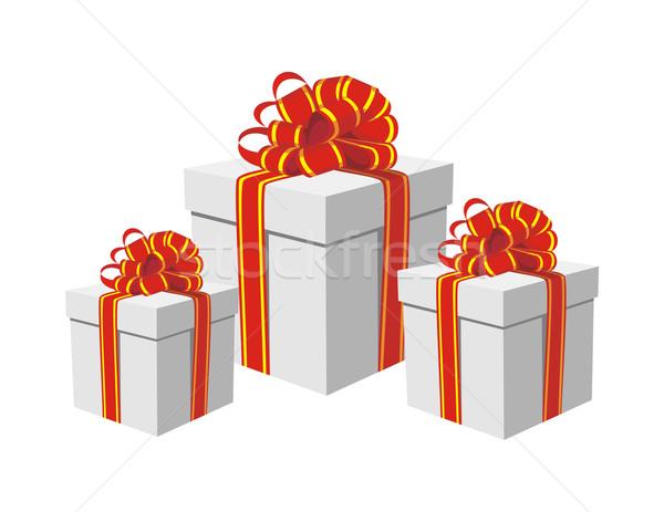 Foto stock: Caixas · de · presente · vermelho · dourado · ilustração · belo