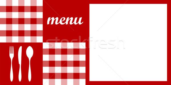 Stok fotoğraf: Menü · dizayn · kırmızı · masa · örtüsü · çatal · bıçak · takımı · beyaz