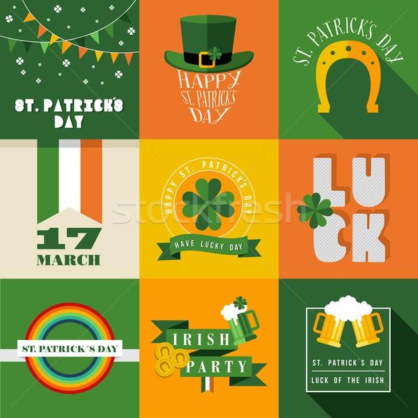 Happy St Patricks day label illustration Stock photo © cienpies