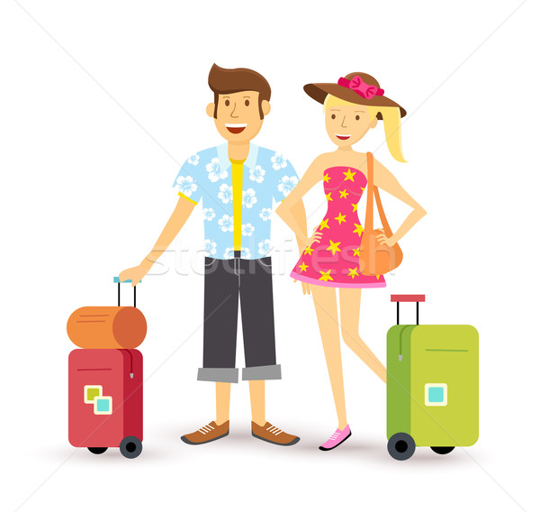 Young couple summer holiday vacation travel summer Stock photo © cienpies