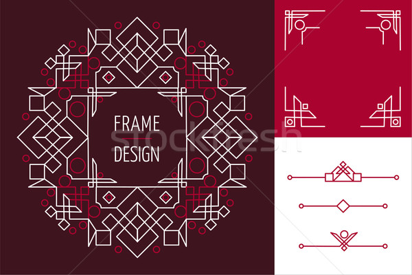 Art deco set frame abstract geometry mono line Stock photo © cienpies