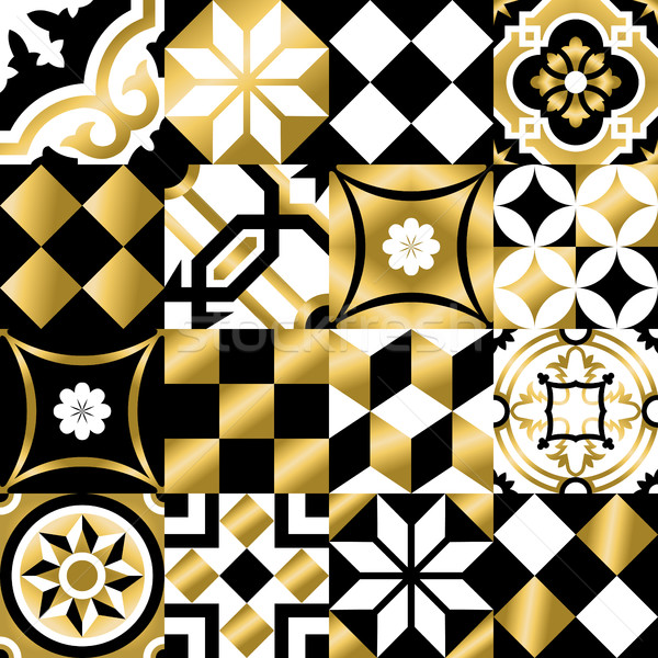 Klasszikus mozaik csempe végtelen minta arany szín Stock fotó © cienpies