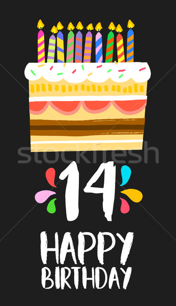 Happy Birthday cake card 14 fourteen year party Stock photo © cienpies