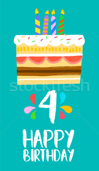 Happy Birthday cake card for 4 four year party Stock photo © cienpies
