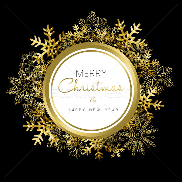 Merry Christmas and New Year gold snow wreath Stock photo © cienpies