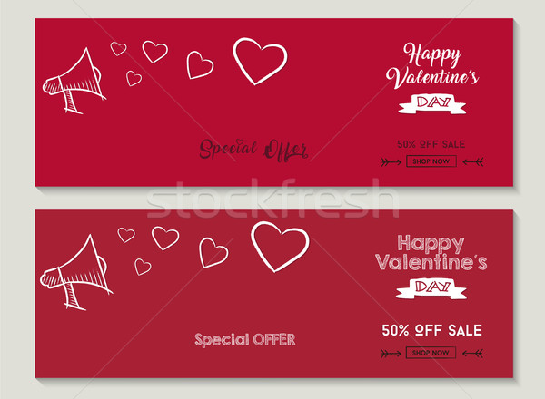 Happy Valentines day sale social media covers set Stock photo © cienpies
