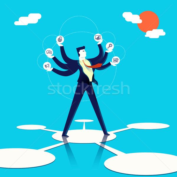 Multitasking businessman concept illustration art Stock photo © cienpies