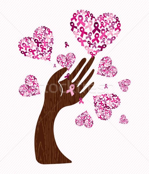 Breast cancer awareness love ribbon hand tree art Stock photo © cienpies