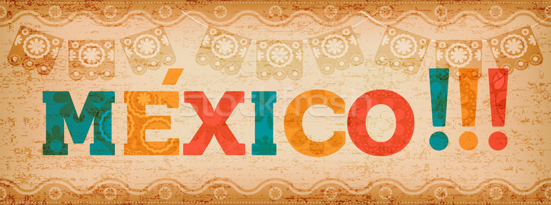 Happy mexico holiday typography quote banner Stock photo © cienpies