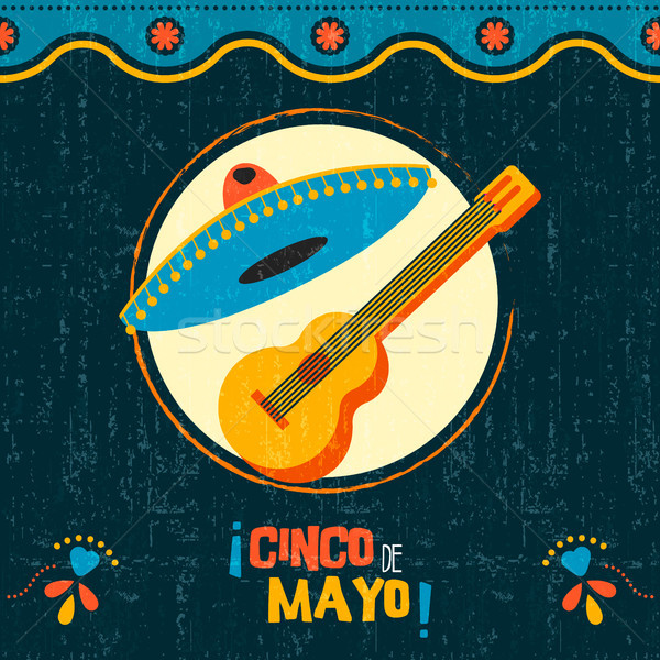 Cinco de mayo mexican mariachi party poster art Stock photo © cienpies