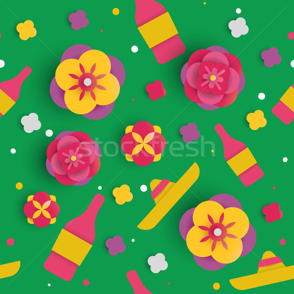 Cinco de mayo paper art flower seamless pattern Stock photo © cienpies