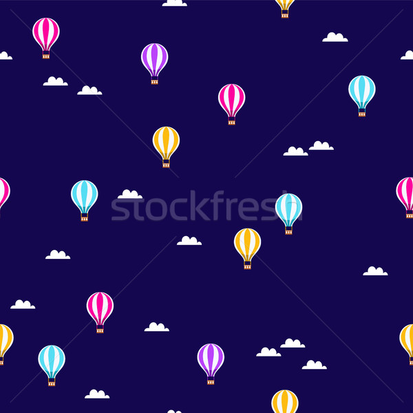 Stock photo: Cute air balloon pattern background illustration