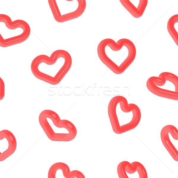 Szív alak 3D szimbólum végtelen minta szeretet piros Stock fotó © cienpies