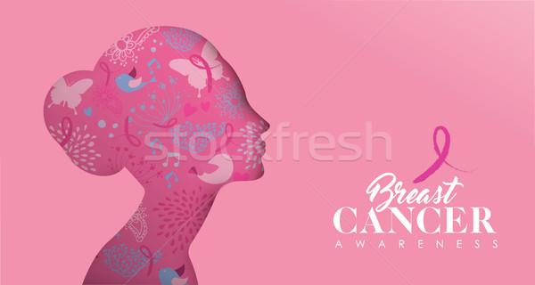 Cáncer de mama atención banner rostro de mujer conciencia Foto stock © cienpies