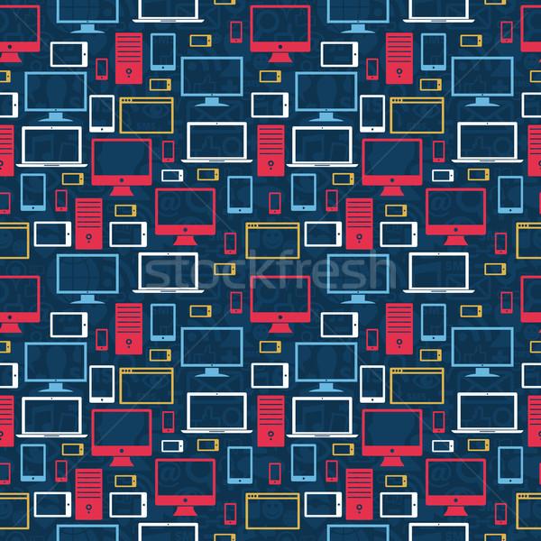 Computerpictogrammen computer tablet mobiele iconen Stockfoto © cienpies