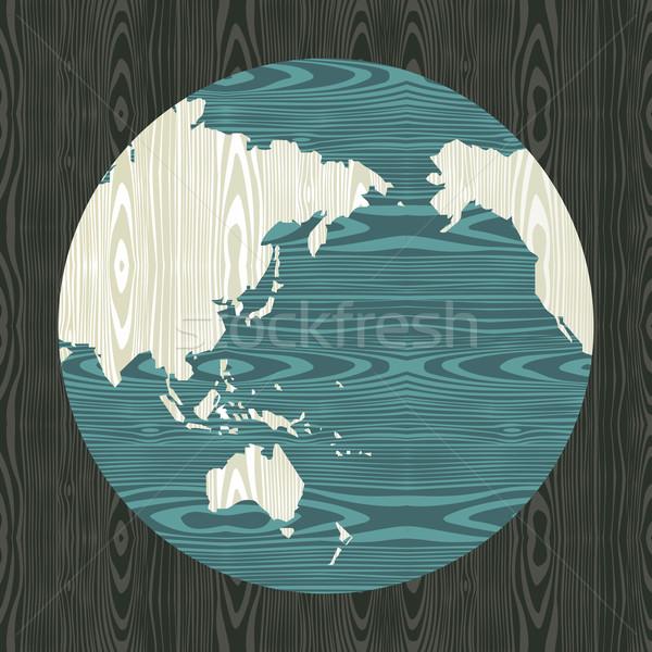 Fából készült világ forma Ázsia Ausztrália Óceánia Stock fotó © cienpies